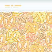 Vector pretzels horizontal torn seamless pattern background with hand drawn elements