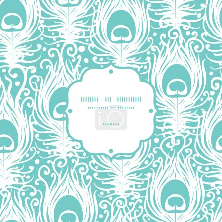 Illustration for Soft peacock feathers vector frame seamless pattern background with hand drawn elements. - Royalty Free Image
