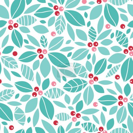 Christmas holly berries seamless pattern background