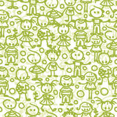 Vector group of children playing seamless pattern background with hand drawn elements