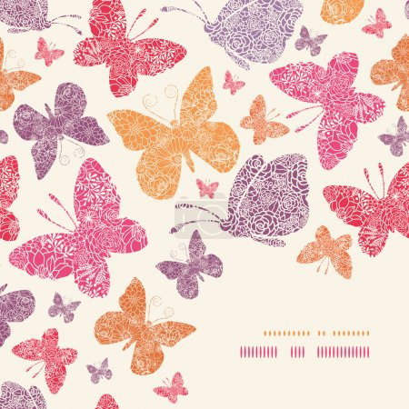 Illustration for Vector floral butterflies corner decor pattern background with hand drawn elements - Royalty Free Image