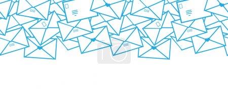 Illustration pour Vecteur Lettres postales enveloppes ligne art horizontal sans couture motif fond bordure avec des éléments dessinés à la main . - image libre de droit