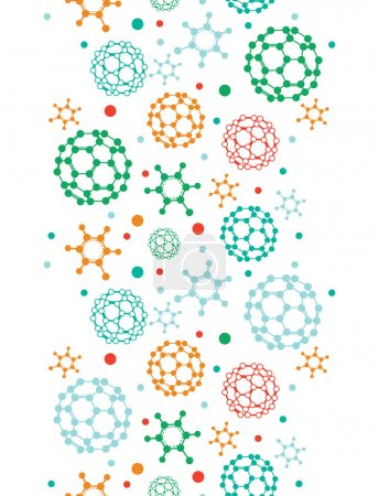 Illustration for Vector colorful molecules vertical seamless pattern background in pastel colors - Royalty Free Image