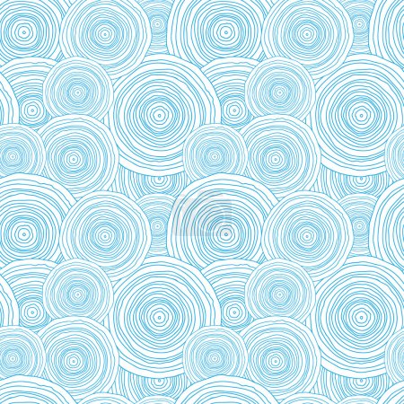 Doodle circle water texture seamless pattern background