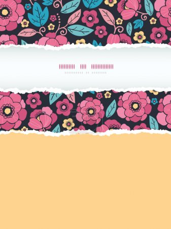 Night Kimono Blossom Vertical Torn Frame Seamless Pattern Background