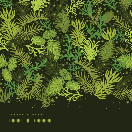 Evergreen christmas tree horizontal frame seamless pattern background