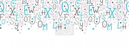 Illustration pour Vecteur alphabet coloré lettres bordure horizontale fond de motif sans couture - image libre de droit