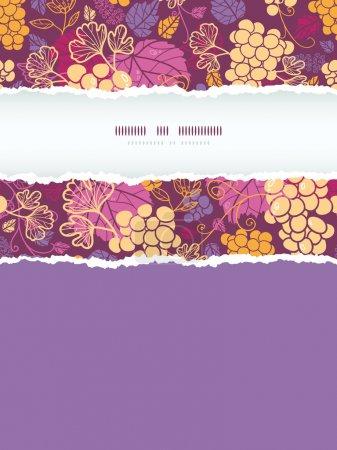 Vignes de raisin doux cadre vertical déchiré fond de motif sans couture