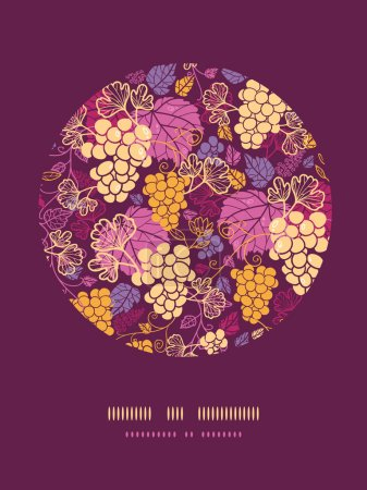 Sweet grape vines circle decor pattern background