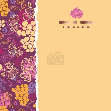 Vignes de raisin doux bordure déchirée carré fond de motif sans couture