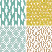 Four abstract ornamental shapes seamless patterns set