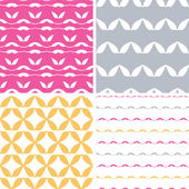 Vector set of four abstract leaf shapes geometric patterns and backgrounds
