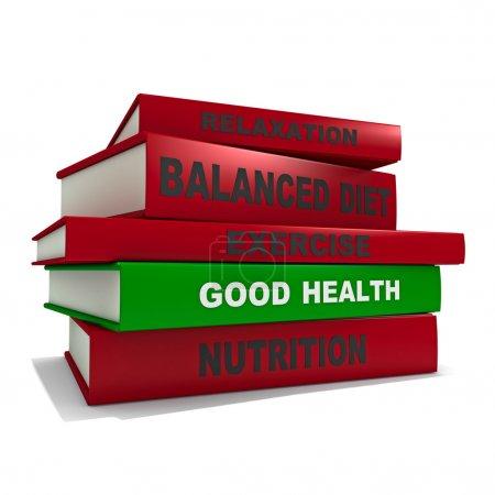 Photo pour Trois dimesional rendu d'une pile de livres pour le concept d'une bonne santé - image libre de droit