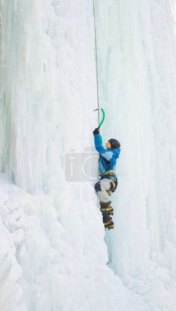 Photo for Ice climbing the waterfall. - Royalty Free Image