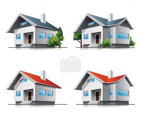 Illustration pour Deux maisons familiales différentes vecteur des icônes dans le style cartoon. fichier vectoriel EPS10. - image libre de droit