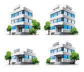 Four cartoon office buildings with trees