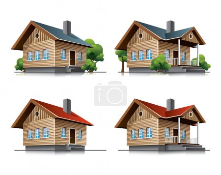 Illustration for Two detailed wooden cottages vector icons in cartoon style. EPS10 vector file. - Royalty Free Image