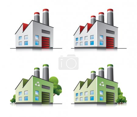 Illustration for Set of detailed cartoon factory icons with green eco versions. Trees in separate layers. - Royalty Free Image