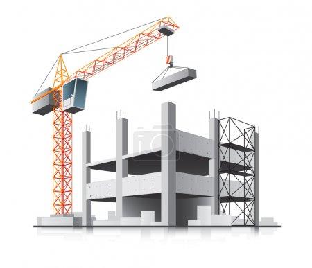 Illustration pour Construction de bâtiments avec grue dans la ville sur fond blanc - image libre de droit