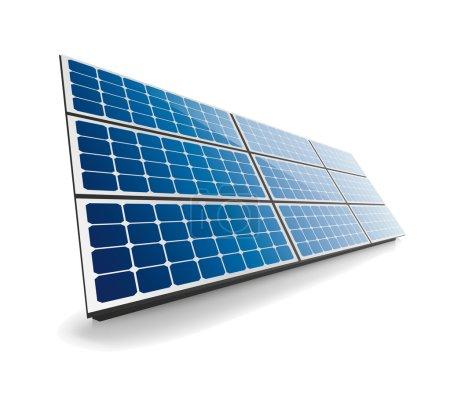 Illustration pour Icône panneau solaire avec ombre isolée sur fond blanc. Cette illustration est un fichier vectoriel EPS10 et comprend un maillage dégradé, des effets de transparence et de mélange dans des couches séparées. . - image libre de droit