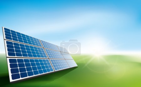 Illustration pour Panneaux solaires modernes dans un champ d'herbe avec lumière du soleil. Cette illustration est un fichier vectoriel EPS10 et comprend un maillage dégradé, des effets de transparence et de mélange dans des couches séparées. . - image libre de droit