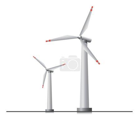 Illustration pour Deux éoliennes isolées . - image libre de droit