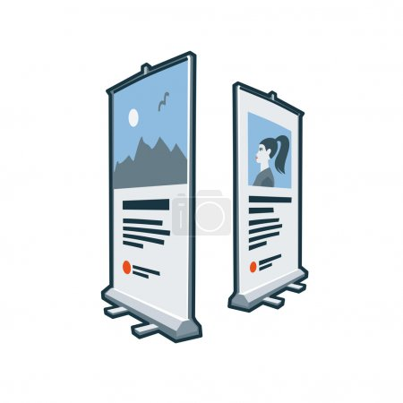 Roll up banners icon in cartoon style. Print publi...