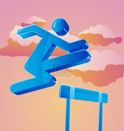 Illustration for Stick figure jumps over obstacle. Can represent business person overcoming challenges. - Royalty Free Image
