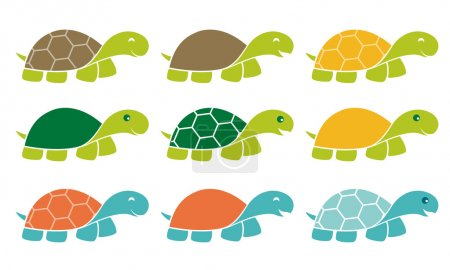 Happy Turtle Icon Logo Set