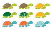 Smiling Happy Turtle Icon Logo Set in Cartoon Style