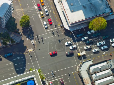 Photo for City crossroad scene with traffic lights seen from above - Royalty Free Image