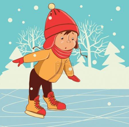 Ice skating boy. Winter on frozen ice lake