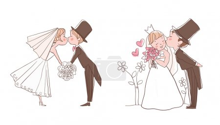 Illustration for Wedding set: Bride and groom kissing - Royalty Free Image