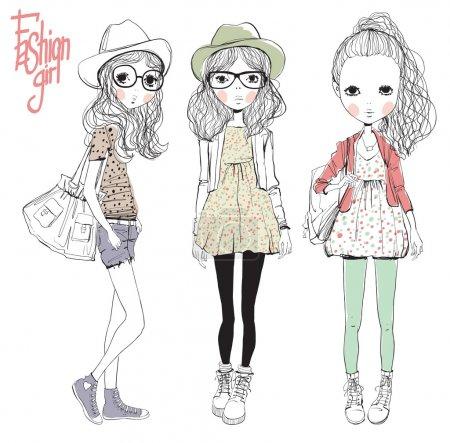 Illustration for Fashion illustration girls - Royalty Free Image