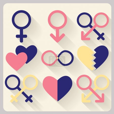 Flat design. Sex simbols.