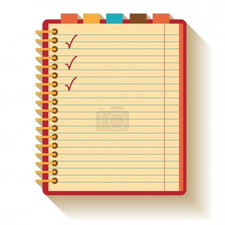 Notebook. Flat design.