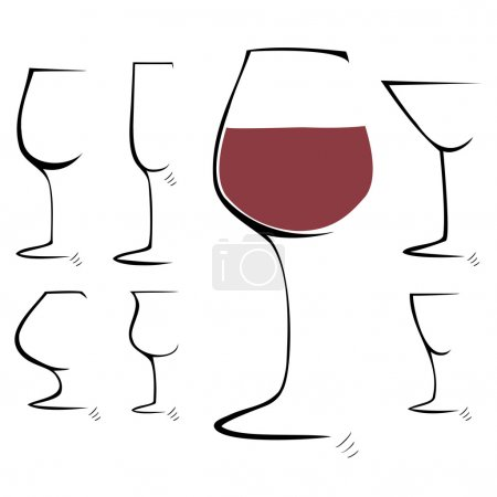Hand drawing sketch. Set of goblet, wineglass. Vector illustration.