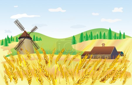 Illustration for Wheat field composition - Royalty Free Image