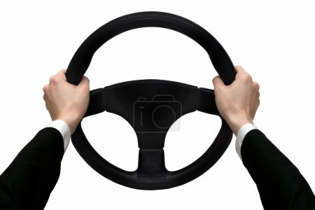 Hands on the steering wheel isolated on a white background