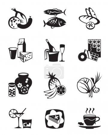 sklep spożywczy i słodyczy zestaw ikon