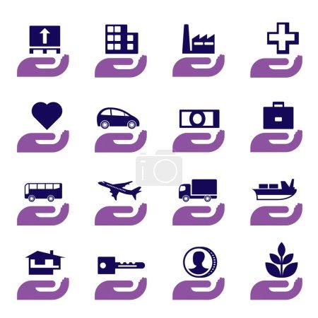 Illustration for Insurance icons set - vector illustration - Royalty Free Image