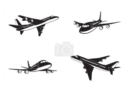 Illustration for Passenger airplanes in perspective - vector illustration - Royalty Free Image
