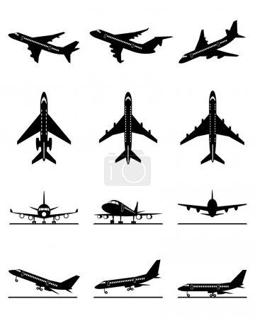 Different passenger aircrafts in flight
