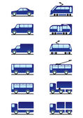 Road and railways transportations icons set