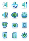 Urban public buildings icons set