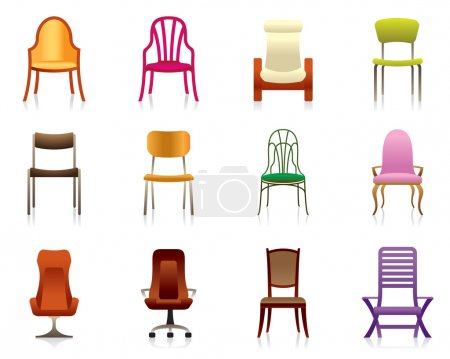 Illustration for Interior, luxury, office, and plastic chairs - vector illustration - Royalty Free Image