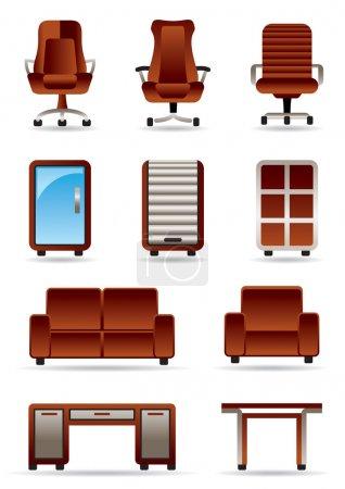 Illustration pour Ensemble d'icônes de mobilier de bureau d'affaires - illustration vectorielle - image libre de droit