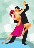 Pair of dancers in ballroom dance