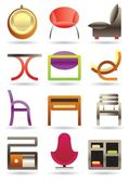 Contemporary home furniture icons set