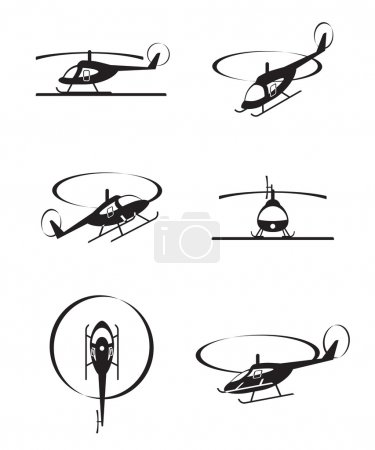 Illustration for Civil helicopters in perspective - vector illustration - Royalty Free Image